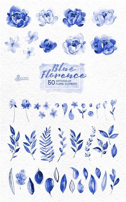 Watercolor Floral Clipart Elements Florence Delft Tattoo