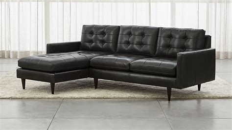 crate and barrel petrie leather sofa petrie leather 2 left arm chaise sectional sofa