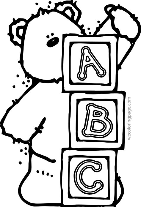 coloring pages kids bear    page abc animal  abc
