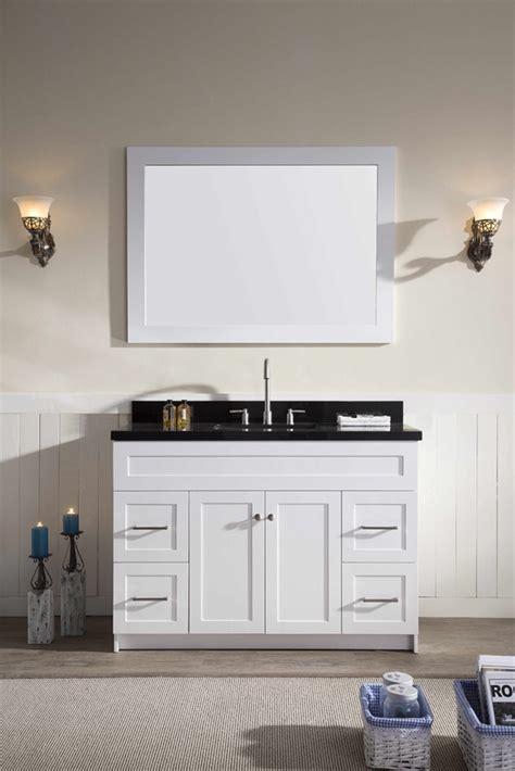 ariel hamlet  single sink vanity set  absolute black granite countertop  white ariel bath