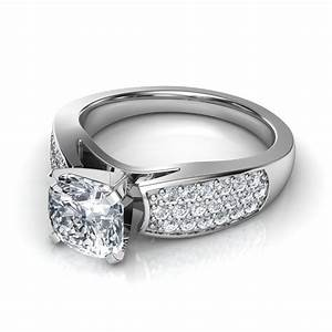 Wide Band Pav Round Cut Diamond Engagement Ring In 14K