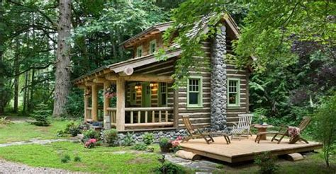romantic log cabin   forest