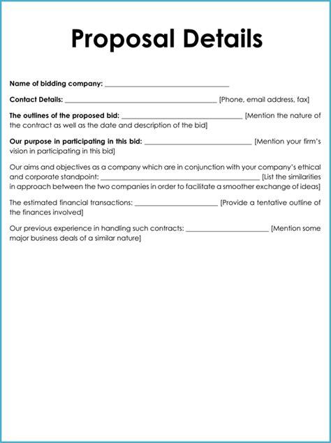 bid proposal templates examples word excel