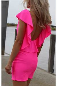 Hot Pink Neon Ruffle Justyna G Dresses