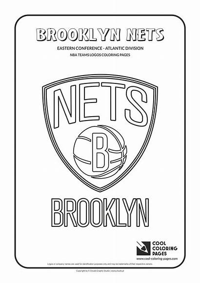 Nba Coloring Basketball Teams Logos Nets Cool