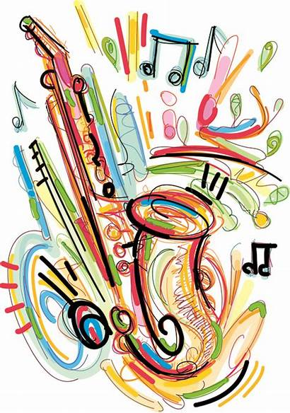 Instruments Musical Vector Clipart Drawn Hand Saxophone