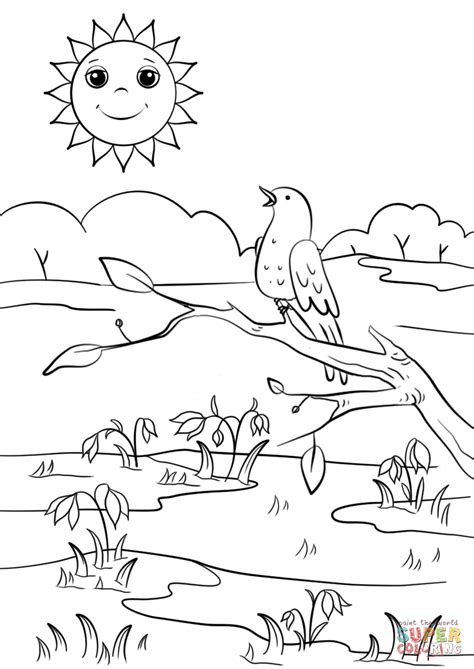 spring scene coloring page  printable coloring pages