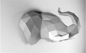 Trophée Animaux Origami : troph e mural origami elephant gris pour la d coration de chambre enfant troph es animaux en ~ Teatrodelosmanantiales.com Idées de Décoration
