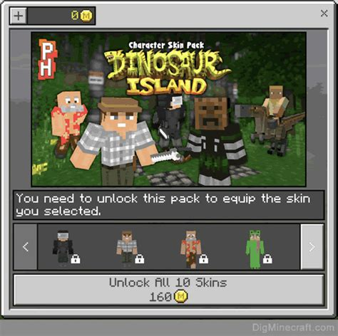 dinosaur island characters skin pack  minecraft