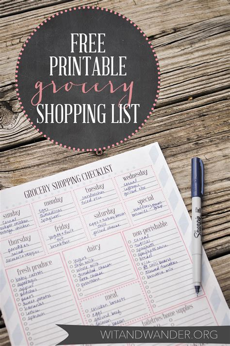 Free Printable Grocery Shopping List Our Handcrafted Life