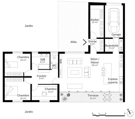 plan maison plain pied 2 chambres garage plan maison en l de plain pied avec garage
