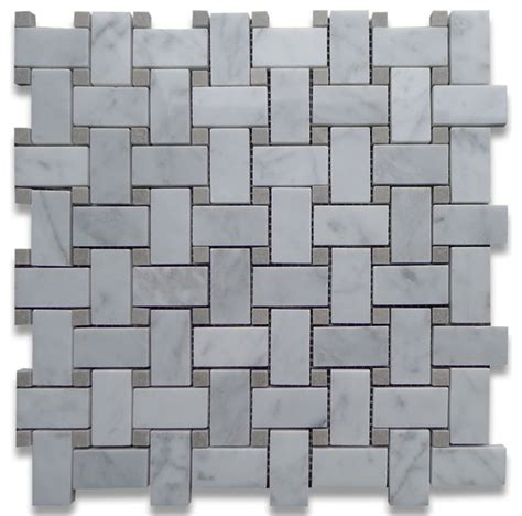 carrara marble basketweave mosaic tile gray dots 1x2 polished traditional mosaic tile by