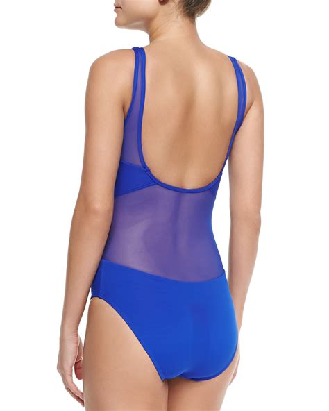 high neck one swimsuit jets by jessika allen high neck one swimsuit w mesh