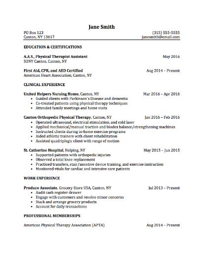 Physical Therapy Student Resume Template by Career Services Sle Resumes