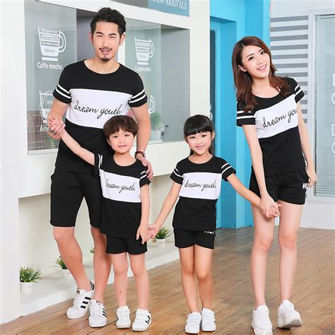 Summer Family Matching Outfits Mother Father and Daughter Son Black White Short Sleeve T shirt ...