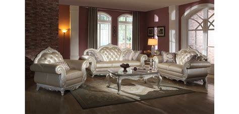 traditional living room furniture pearl color leather traditional living room set 652