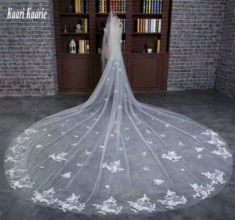 2018 New Ivory Cathedral Bride Veil 3 Meters Long Applique