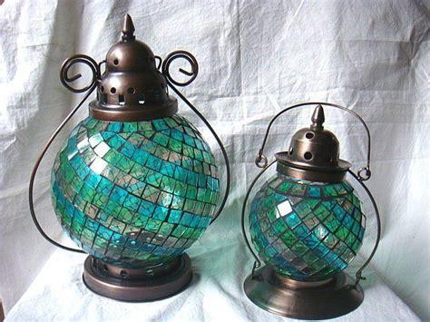 blue mosaic  shape antique moroccan hanging glass