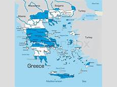 Abstract vector color map of Greece country coloured by