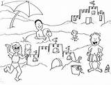 Coloring Sand Castle Trip Building Vacation Printable Getcolorings sketch template