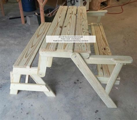 folding bench picnic table combo plans woodworking