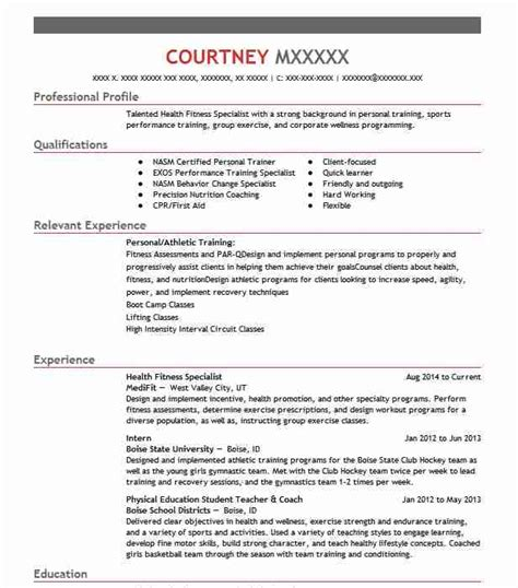 Fitness Resume by Health Fitness Specialist Resume Sle Livecareer