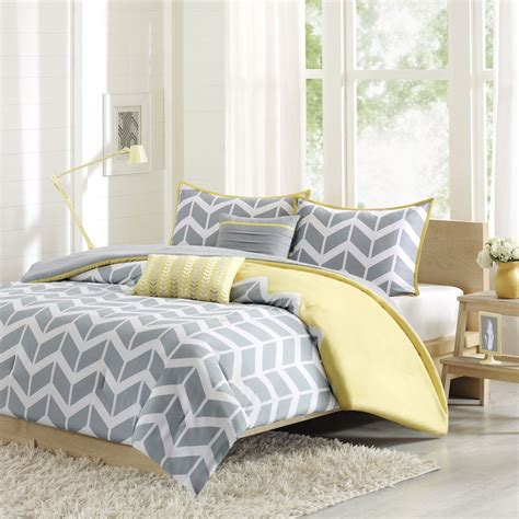 chevron duvet cover beautiful modern yellow white grey stripe chevron