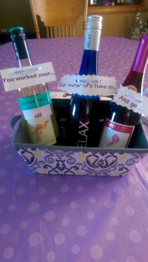 diy wine gift baskets  retirement gifts teacher