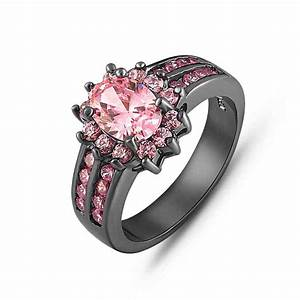 Black gold and pink diamond engagement rings wedding and for Wedding rings with pink