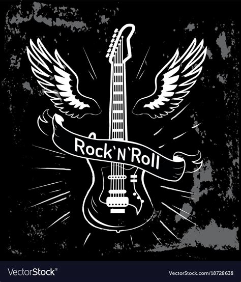 Rock And Roll Images Rock N Roll Guitar And Wings Royalty Free Vector Image