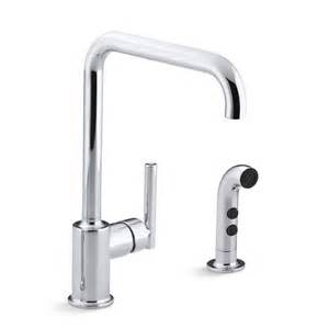 kohler purist kitchen faucet kohler k 7508 purist single handle swing spout kitchen faucet with spray homeclick com
