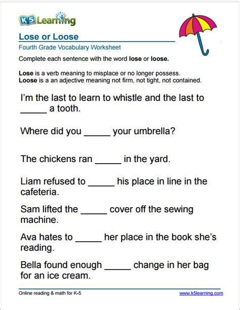 vocabulary worksheets for class 4 grade 4 vocabulary worksheets printable and organized by