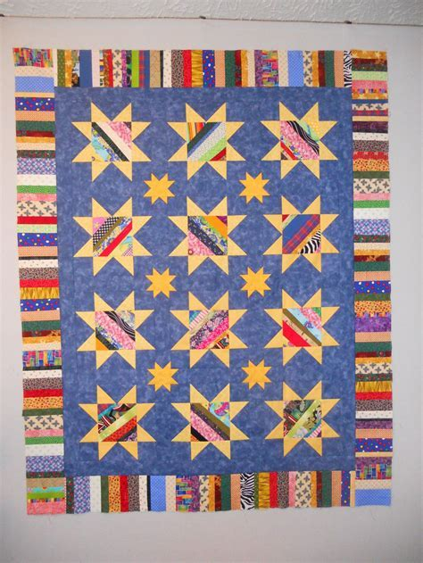 String Pieced Star Quilt Pattern   FaveQuilts.com