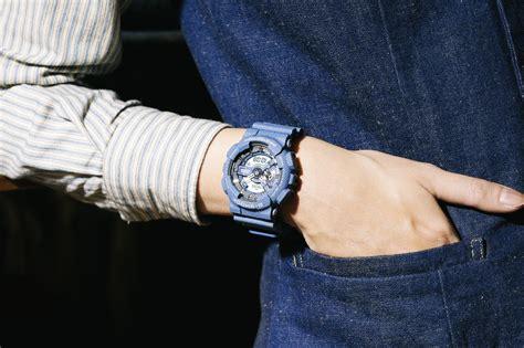 khaki and blue striped g shock ga 110dc 2a denim series