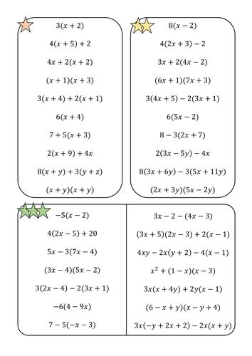 Expand And Simplify Single And Double Brackets Worksheet By Amisonmj  Teaching Resources Tes