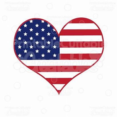 Flag Heart American Svg Clipart Cut Cutting