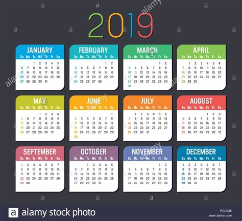 colorful year calendar isolated dark background stock vector