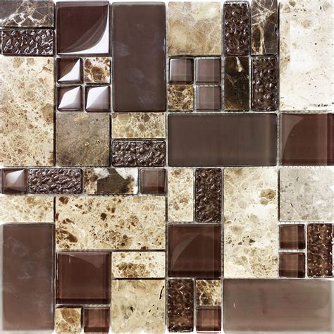 Sample Brown Pattern Imperial Marble Stone Glass Mosaic