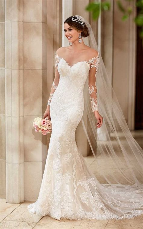 wedding dresses with illusion lace sleeves stella york