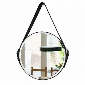 Spiegel Rund 70 Cm : ronde spiegel edison met leren riem usi maison ~ Bigdaddyawards.com Haus und Dekorationen