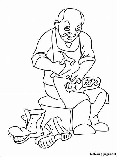 Drawing Shoemaker Coloring Pages Cobbler Shoe Maker