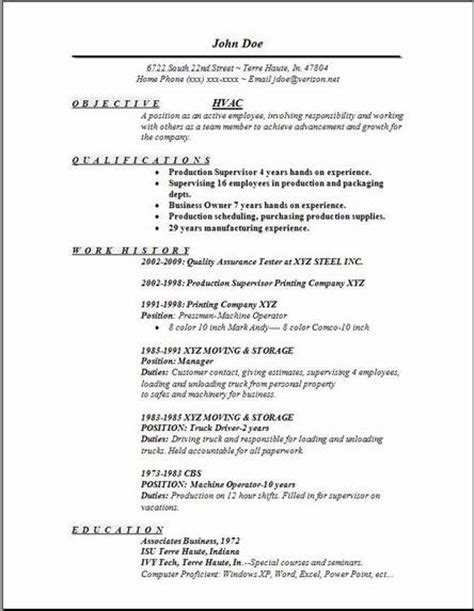 Hvac Resume Objective by Hvac Resume Exles Sles Free Edit With Word