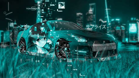 nissan gtr  jdm super anime girl aerography surprise