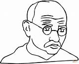 Coloring Gandhi Mahatma Simon Printable Simple Colouring Crafts Visit Popular sketch template