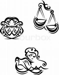 Zwilling Und Waage : wassermann waage und zwillinge zodiacal symbole vektorgrafik colourbox ~ Orissabook.com Haus und Dekorationen