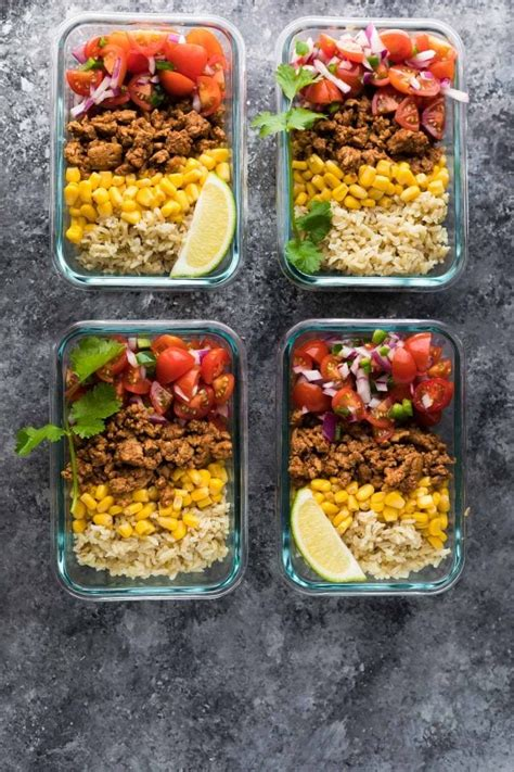 turkey taco lunch bowls easy lunch meal prep ideas
