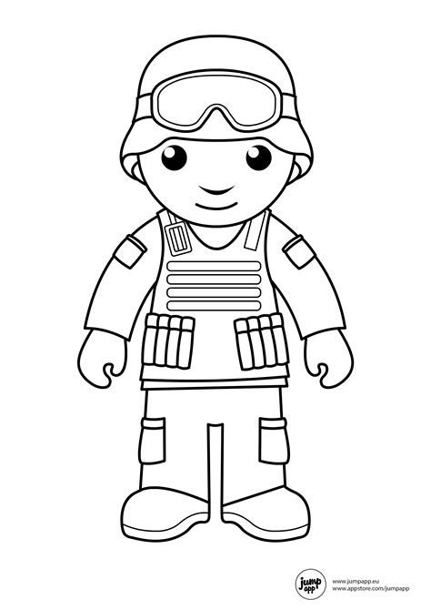 soldier printable coloring pages community helpers