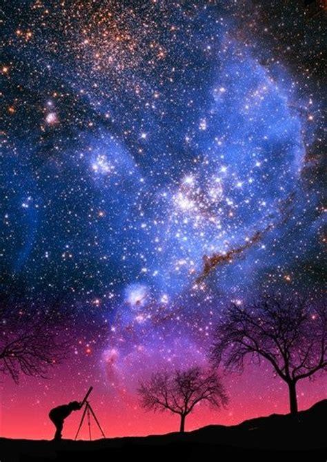 Milky Way Stars Sky Night Telescope Trees Silhouette