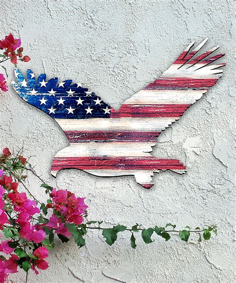 usa flag eagle rustic painted wooden shape