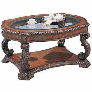 Traditional oval cocktail table with glass inlay top for Glass inlay coffee table